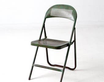 Vintage Metal Folding Chair, Green Metal Cane Chair