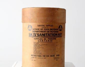 SK IV Sanitation kit box, Cold War survival kit barrel, 60s fallout shelter bin