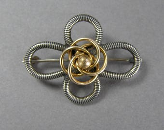 Antique Niello Brooch, Gold Gilt, Lover's Knot, 800 Silver, Edwardian, Victorian, Vintage Jewelry