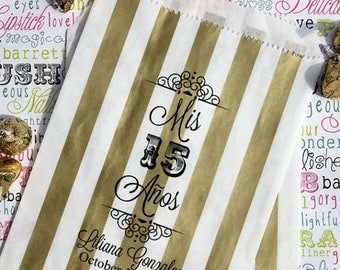 "GLAM SALE 100 Personalized Quinceanera Favor Bags, ""Mis 15 Anos"", Sweet 15 Custom Printed Favor Bags, Candy Bags, Cookie Bags, Popcorn Bags"