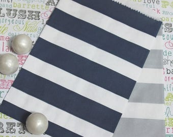 GLAM SALE 100 Navy and Silver Rugby Stripe Candy Bags, Silver and Navy Wedding Rugby Candy Bags, Navy Rugby Popcorn Bags, Favor Bags, Party