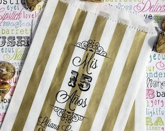 """GLAMSALE 50 Personalized Quinceanera Favor Bags, """"Mis 15 Anos"""", Sweet 15 Custom Printed Favor Bags, Candy Bags, Cookie Bags, Popcorn Bags"""