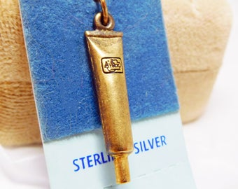 Charm tube 3D in sterling silver Vintage gold tone new and unused