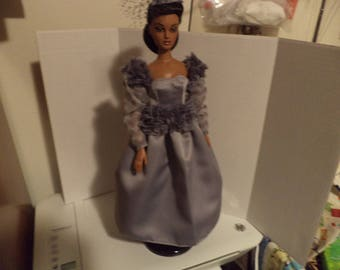 Gray Satin Gown with Fascinator For 15-16 inch Collector Dolls, Ready to Ship, Gene, Tyler, Violet