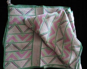 Vintage Scarf - Echo Silk Scarf, Made in Japan, Long Rectangular Scarf, Pastel Shades, Summer Scarf, Head Scarf