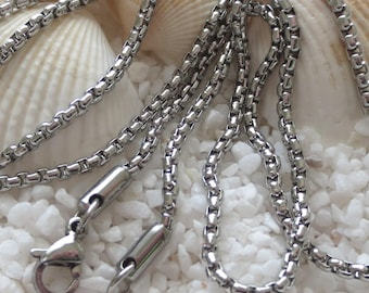Stainless Steel Venetian Box Chain Necklace - 24 inches - Lobster Claw Clasp - 1 pc