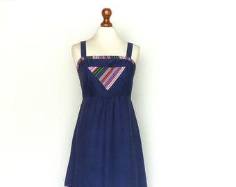 Vintage 60s 70s Summer Dress / Dark Blue Multicolor / Geometric / High waist / Straps / Knee Length / small medium