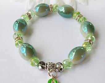 Lyme Disease, Kidney Cancer, Liver Cancer, Mental Illness, Awareness Bracelet, Awareness Jewelry, Lyme Disease Bracelet, Green Ribbon Charm