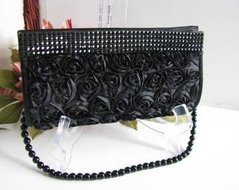 Black Fabric Wedding Bag Clutch Formal Wear with Removable Black Obsidian Bead  strap