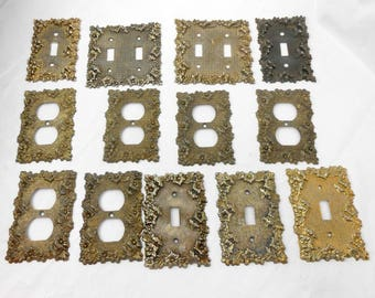 Vintage brass switchplates switch plates vintage Hollywood Regency light switch covers outlet cover plates architectural salvage 13 total