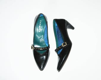 Size 7 / Patent Leather Pointy Heeled Shoes / Made in Spain