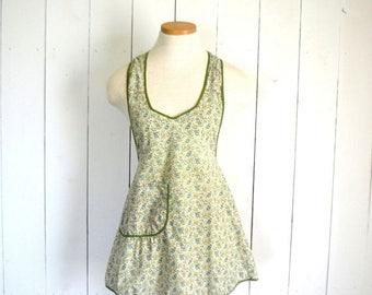 34% Off Sale - Paisley Print Apron - 1960s Green Full Apron - Vintage Around the Neck Pocket Apron