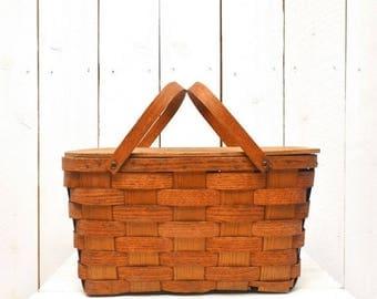 Wood Slat Picnic Basket - 1940s Vintage Double Handle Basket - Vermont Basketville Basket