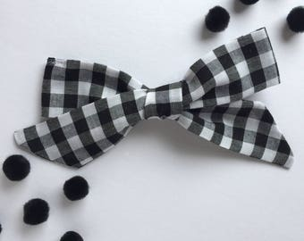 Black and White Gingham Bow Hair Clip