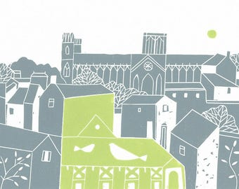 York Rooftops Linocut Print - Limited Edition - UK - Printmaking -  Yorkshire Original Print by Giuliana Lazzerini