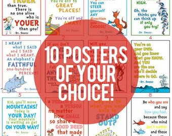 YOUR CHOICE of 10 Dr. Seuss Posters DIGITAL files.
