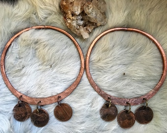 Hammered copper COIN hoops