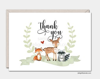 Watercolor Woodland Animals, Thank You Card, Printable Card, 5x7 Folded Card, (1) PDF, Instant Download, Printable File
