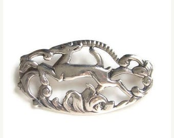 ON SALE Vintage Sterling Silver Frame Brooch Pin Figural Leaping Running Deer with Foliage