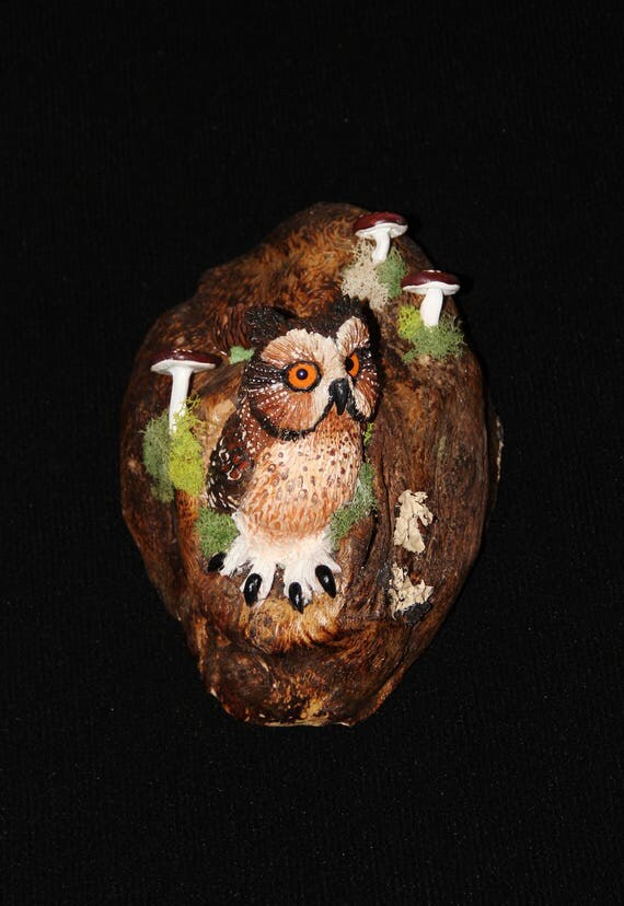 Ceramic Owl Bird Wall Art - Hand Sculpted - OOAK
