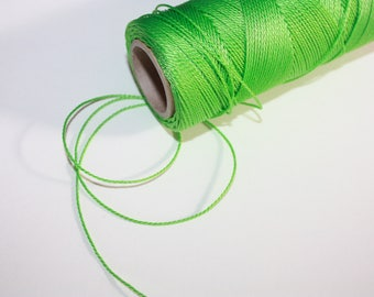 1 mm TWISTED GREEN Cord = 1 Spool = 110 Yards = 100 Meters of Elegant Polypropylene Rope for Macrame, Sewing, Crocheting, Knitting