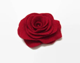 Rose Pin Small Size Scarlet Red Cashmere Rose Flower Pin Red Felted Wood Floral Brooch