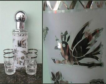 1960s Silver Trim Bar Set Mid Century Modern Pump Decanter & Glasses