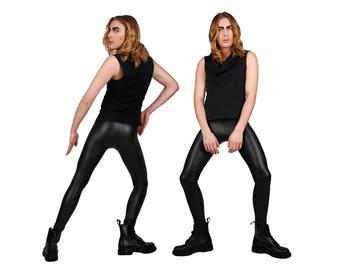 Men's Matte Black Leather-Look Leggings, Meggings, Glam Rock, Stage Wear, Spandex Pants, Dance Costume, Menswear, Burning Man, by LENA QUIST