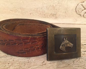 Vintage Horse   Belt and belt  Buckle