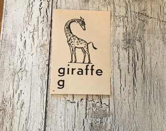 Vintage Alphabet Flash Card - Letter  G  for  Giraffe    - Picture Flash Card - Farmhouse Decor, Nursery Decor