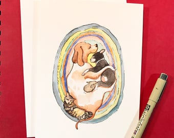 Pet Snuggles, 5x7 card, Ready to Ship greeting card