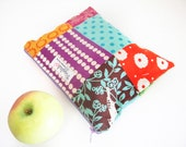 Small Zippered Wet Bag Pouch / Makeup Bag  - Echino Patchwork Pattern