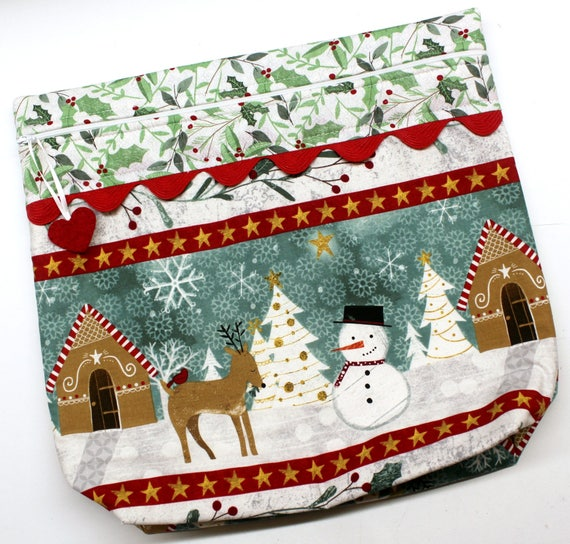 MORE2LUV My Deer Snowman Cross Stitch Embroidery Project Bag