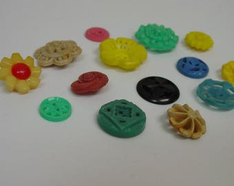 Vintage Buttons Lot of Plastic Cut Out Flower Buttons, All Sizes and Colors