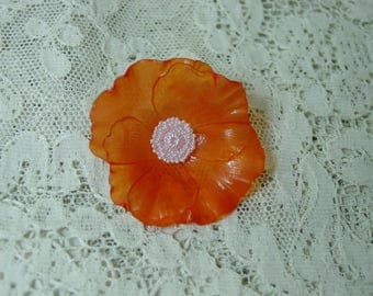 "Vintage Button Thin Plastic Orange Poppy Flower 1 5/8"" Pretty, 4 Available"