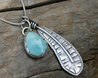 Turquoise and Feather Sterling Silver Charm Necklace. Natural Carico Lake Turquoise Handmade silversmith metalwork metalsmith pendant