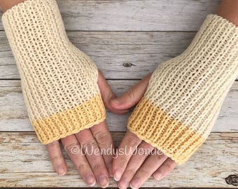 Women's Gift, Hand Warmers, Fingerless Gloves, Knit Texting Gloves, Knit Gloves,  Fingerless Mittens,  yellow