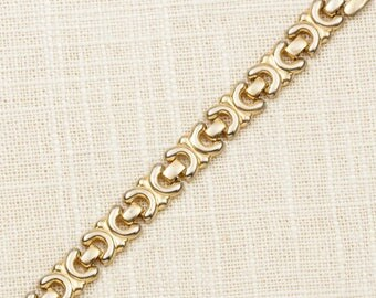 Vintage Bracelet Links Abstract Gold Chain Costume Jewelry 7J