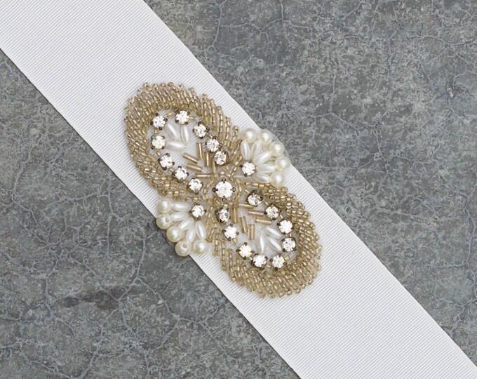 White Grosgrain Ribbon Belt Rhinestone Pearl Art Deco Applique Embellishment Wedding Bridal Sash Crystal Pearls Handmade 217