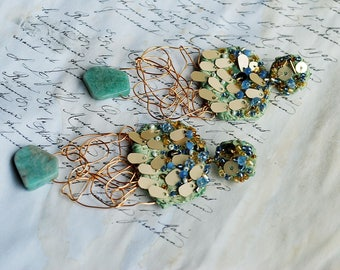 Hand embroidered, colorfull, chunky, elegant, extralong, floral, oversized, fall autumn winter, elegant, glam, fabric earrings - mint i like