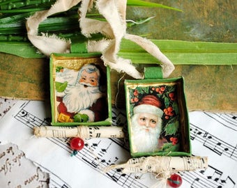 Tree ornaments decorations/ shabby chic, home deco, christmas deco, ooak, vintage like, one of a kind- mixed media/collage - Santa