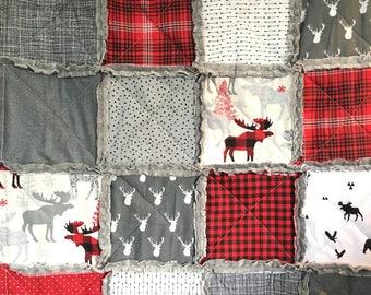 Crib Rag Quilt Baby Boy Crib Bedding Woodland Nursery Red Gray Plaid Lumberjack Nursery