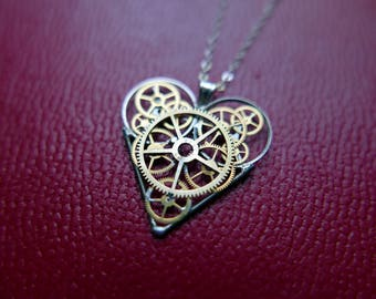 "Mechanical Heart Necklace ""Machen"" Elegant Steampunk Heart Pendant Industrial Organic Clockwork Gear Love Gift Wife Girlfriend Present"