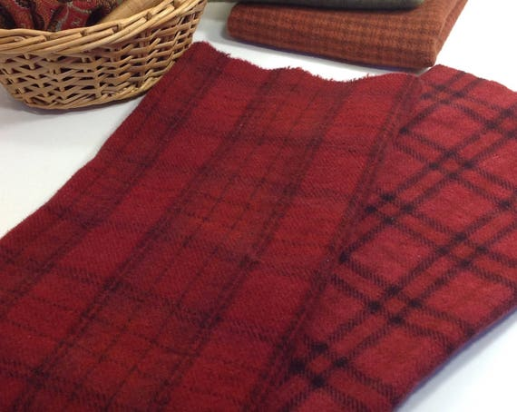 2) fat 1/4 yards, Barn Door Reds, Hand Dyed Wool Fabric for Rug Hooking & Applique, W343, Country Red, Primitive Red