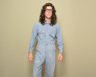 vintage 30s 40s Key Imperial coverall HBT denim work suit workwear 1930 1940 menswear work wear small 36R 35 distressed paint