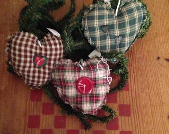 Set of 3 Primitive Homespun Hearts Christmas Tree Ornaments Bowl Fillers Handmade