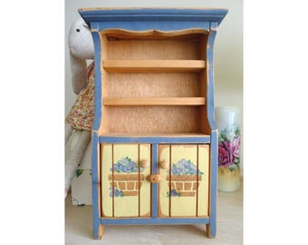 Vintage Hutch Cabinet Country Kitchen Display Childrenu0027s Play Furniture  Wood Play Toy Miniature Display Cabinet Furniture