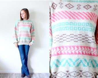 30% OFF SALE Vintage aztec tribal print sweater // boho navajo pink green blue sweater // winter sweater // Christmas sweater // tribal prin
