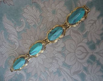 Vintage Gold Tone Link Style Bracelet with Large Light Blue Lucite Stones, 7 1/2""