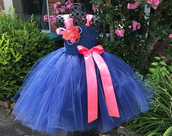 Navy Burlap & Lace with Coral Accents Couture Flower Girl Tutu Dress/ Shabby Chic Wedding/ Rustic Wedding/ Country Wedding